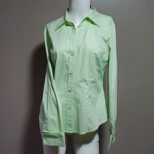 New York & Co Stretch Button Blouse S Mint Green